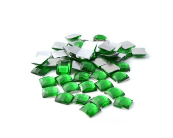 50 square rhinestone 6mm faceted Green
