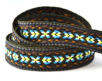 1 meter of navajo style multicolor Brown braided flat cord
