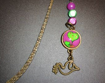 tree in brass and glass cabochon bookmark