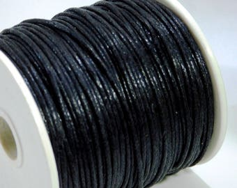 5 m of 1 mm black waxed cotton cord
