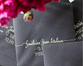 Envelopes (pack of 5) calligraphy wedding invitation