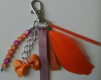 Keyring / bag purple and orange
