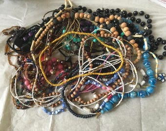 Z4, mixed vintage to now wearable necklaces, beaded necklaces, jewelry lot