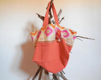 Tote bag chic, pink, and orange recycled textile