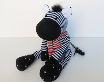 In loving handmade gefärtigtes plush//zebra for cuddling and love//sock animal made of cotton//gift for children