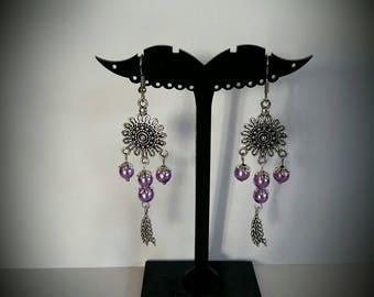 Silver purple dangle earrings