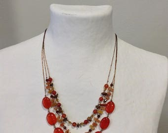 Necklace three rows of Orange, Brown and amber natural stones