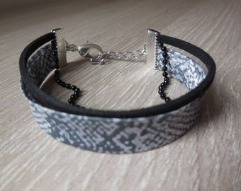 Silver and black python print fabric bracelet