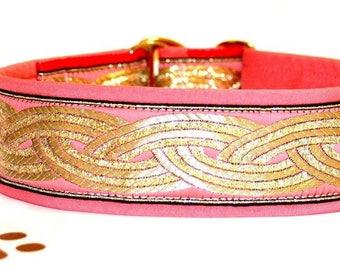 "NEW!Dog collar Jacquard ribbon ""Golden leaf"" with unique golden ornaments in the most elegant design"