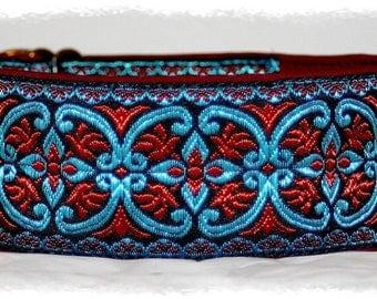 """Dog collar """"Ornaments1"""" Jacquard ribbon in unique colourful elegant for pet accessories fashion"""