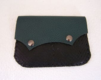 Tobacco pouch leather green and black, unique handmade and original, for men or women