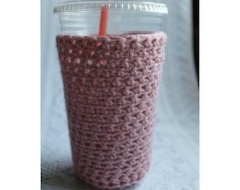 Crochet Iced Coffee Cozy: Light Pink Coffee Sleeve Iced Coffee Sleeve Coffee Cozy Crochet Cozy