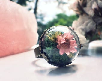 Single Flower Terrarium Ring Real flowers jewelry from Viva Collection