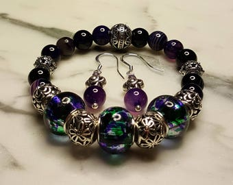 Amethyst Stretch Bracelet with matching Earrings