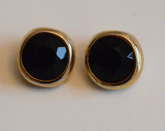 black and gold clip earrings
