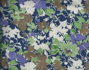 FLORAL fabric: Flowers marine, purple, green and Ecrues (coupon 50x50cm) 100% cotton