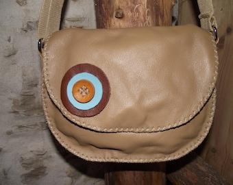genuine beige cow leather bag