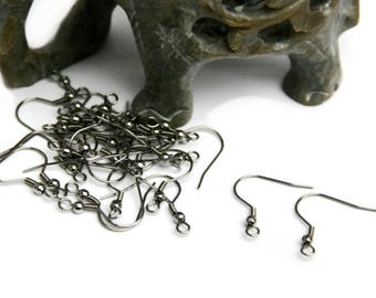 100 Surgical Stainless Steel Earwires - French Hooks with Coil Spring and Ball