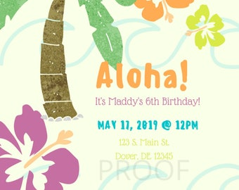 Aloha Tropical Birthday Party Invitation (CUSTOMIZABLE) DIGITAL DOWNLOAD