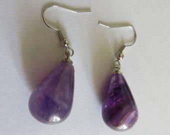 Amethyst natural stone dangle earrings