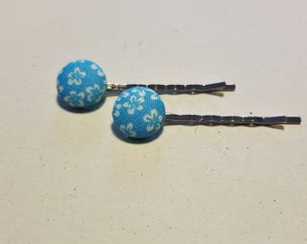 Blue Flower Fabric Button Bobby Pin