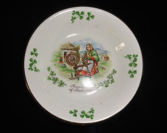 Vintage Arklow Irish Pottery Souvenir of Ireland Woman With Loom Small Ring Dish Shamrocks