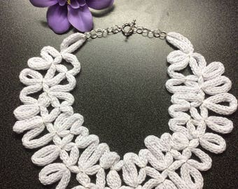 Unique handmade knitting necklace