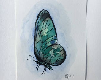 Watercolor Painting - Turquoise Butterfly