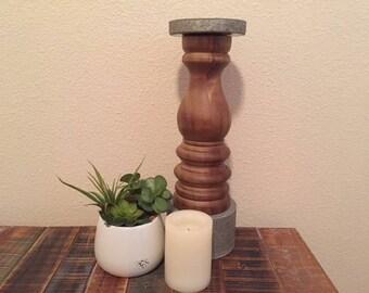 """16"""" Poplar Wood and Galvanized Metal Candle Pillar, wood candle pillar, metal candle pillar, rustic candle pillar"""