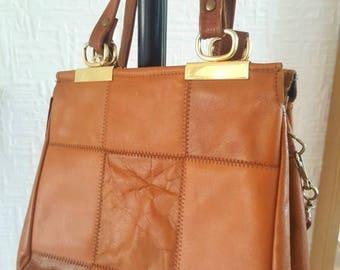 Vintage 1970s tan leather patchwork shoulder bag