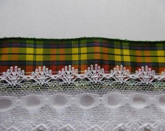 Shirring lace braid BUCHANAN Tartan satin white