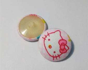 "Big ""Hello Kitty"" round fabric button, pink, 27 mm"