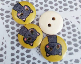 Set of 4 cats and mustard yellow wooden buttons
