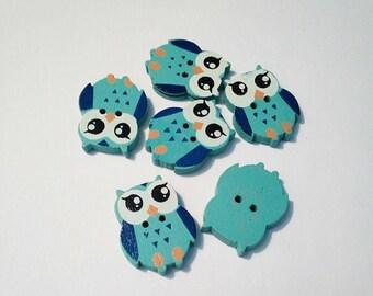 """Lot 6 buttons """"owls"""" / """"owls"""" blue wood"""