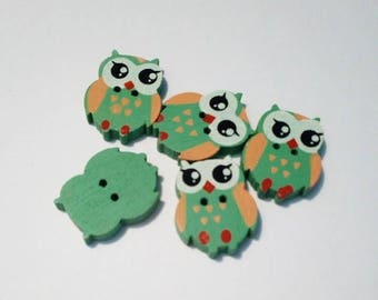 """Lot 5 buttons """"owls"""" / """"owls"""" in green wood"""