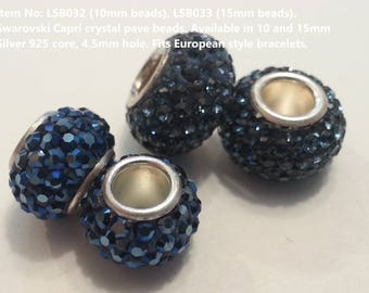 2 Silver 925 - Swarovski Blue Crystal Pave Bead 14mm & 10mm. Fits Pandora. Montana and Capri shades.