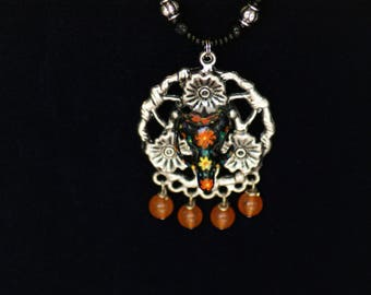 Day of the Dead Skull Pendant & Marigold Beaded Necklace