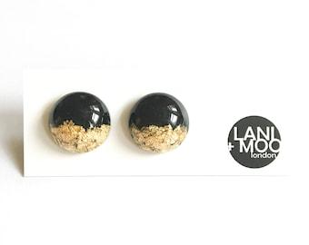 Circle Black Resin Stud Metallic Gold Leaf Statement Earrings!