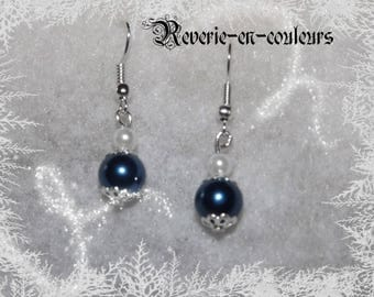 Blue and white pearls earrings