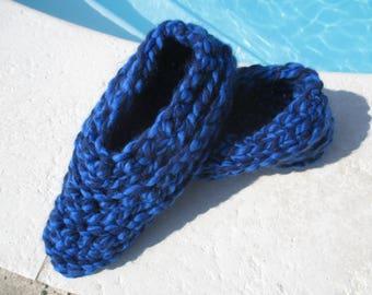 Man 44/45 gift blue crochet woolen slippers