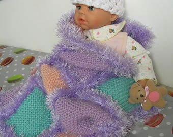 Purple Green Pink knitted baby blanket