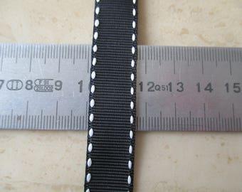 15 metres of 1.5 cm Ribbon black and white sailor