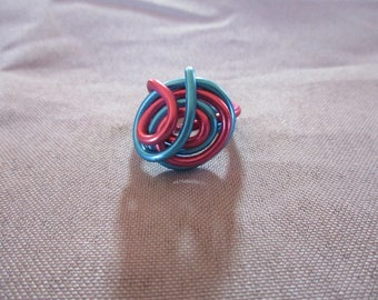 Ring 2mm blue and pink aluminum adjustable