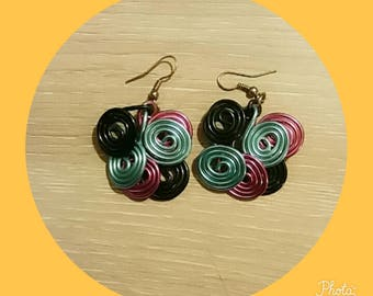 pink blue black aluminum wire earring