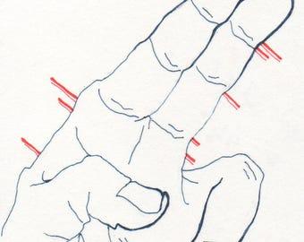 "Felt Pen Illustration, Wall Decoration, Hand Study ""Friendly"""