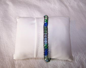 Bracelet wrap in green and blue tones designer jewelry trend