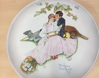 Vintage Norman Rockwell Collectors Plate with Dog From The Four Seasons Series for 1955 Flowers in Tender Bloom Raised Figures