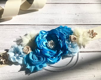 Blue Maternity Sash Pregnancy Sash Gender Reveal Party Photo Prop Gift Keepsake Baby Shower Belly Belt