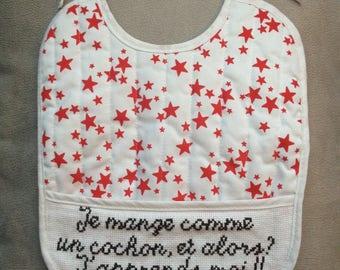White stars bib embroidered Red Cross stitch