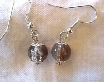 Beaded Silver earrings with glass Brown transparent crystals